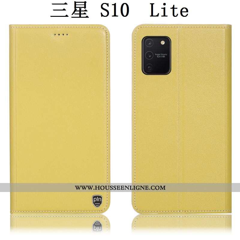 Étui Samsung Galaxy S10 Lite Cuir Véritable Protection Téléphone Portable Étoile Housse Coque Jaune