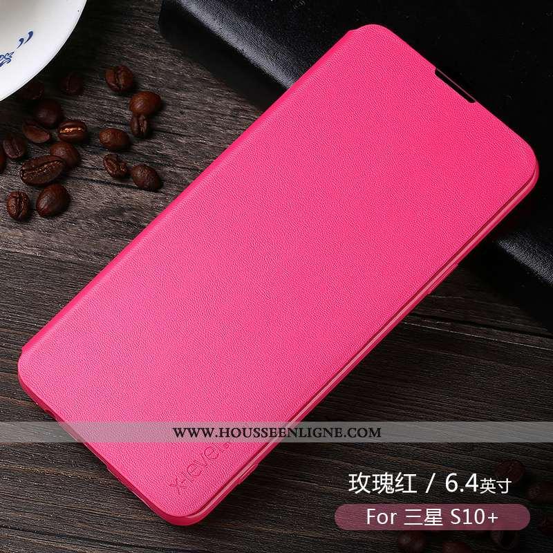 Étui Samsung Galaxy S10+ Protection Personnalité Téléphone Portable Tout Compris Créatif Cuir Rose