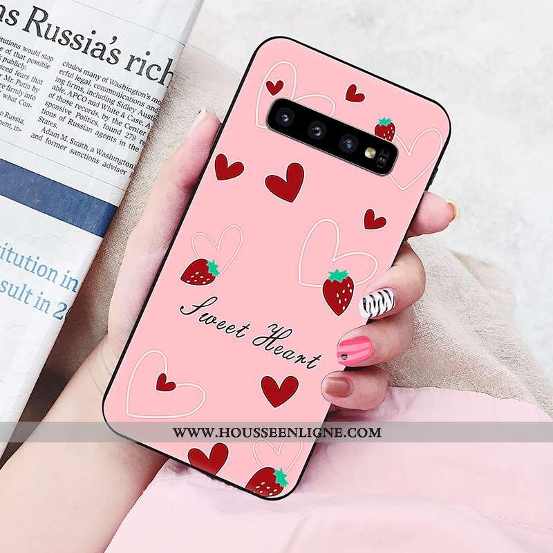 Étui Samsung Galaxy S10 Silicone Personnalité Rose Téléphone Portable Amoureux Étoile