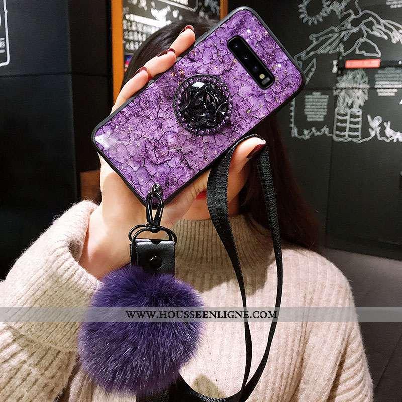 Étui Samsung Galaxy S10 Silicone Protection Violet Tendance Fluide Doux Incassable Ornements Suspend