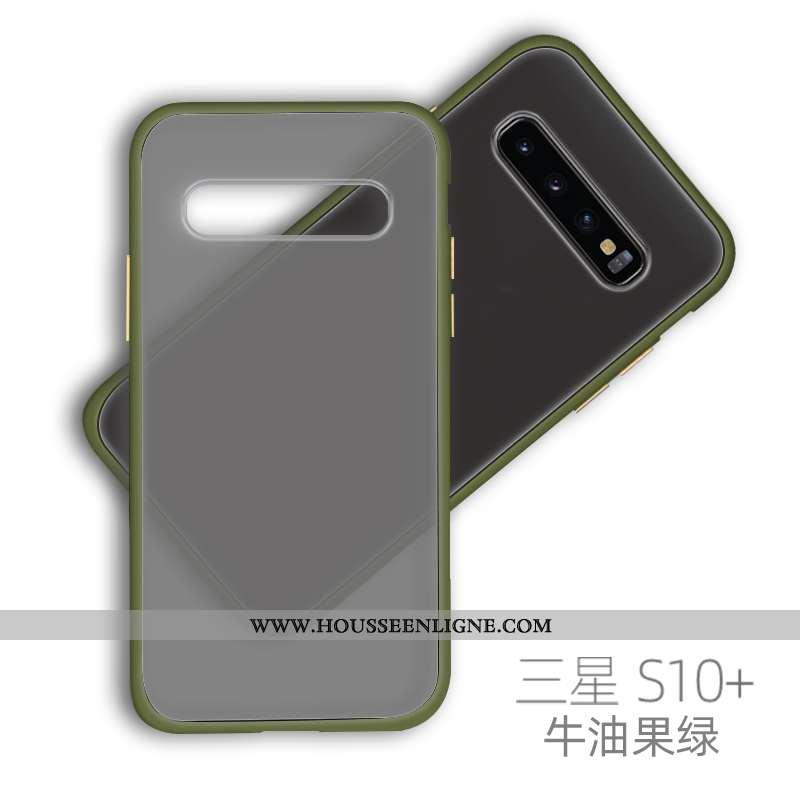 Étui Samsung Galaxy S10+ Ultra Tendance Net Rouge Délavé En Daim Coque Vent Silicone Verte