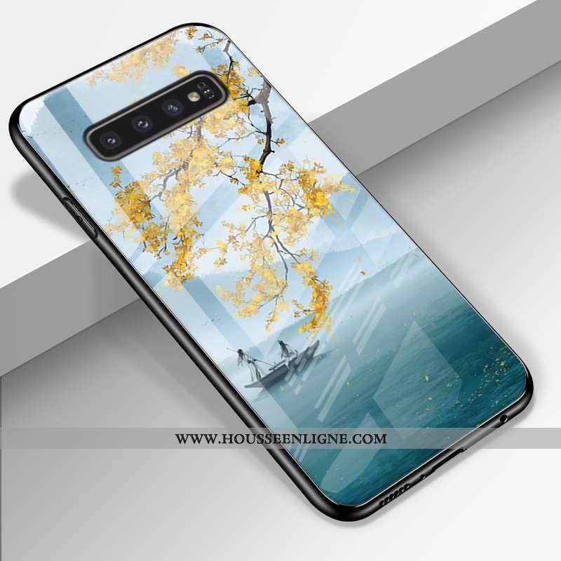 Étui Samsung Galaxy S10+ Verre Personnalité Fluide Doux Tendance Miroir Étoile Coque Bleu