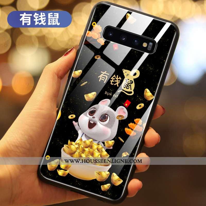 Étui Samsung Galaxy S10+ Verre Protection Richesse Petit Coque Incassable Rat Noir
