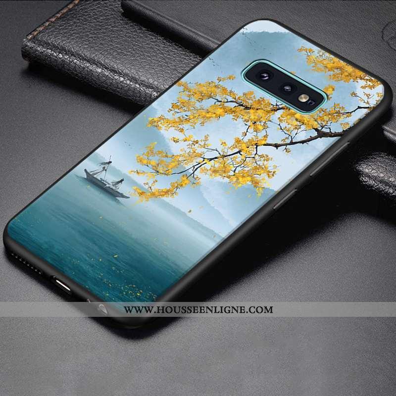 Étui Samsung Galaxy S10e Créatif Dessin Animé Fluide Doux Coque Protection Bleu Personnalité