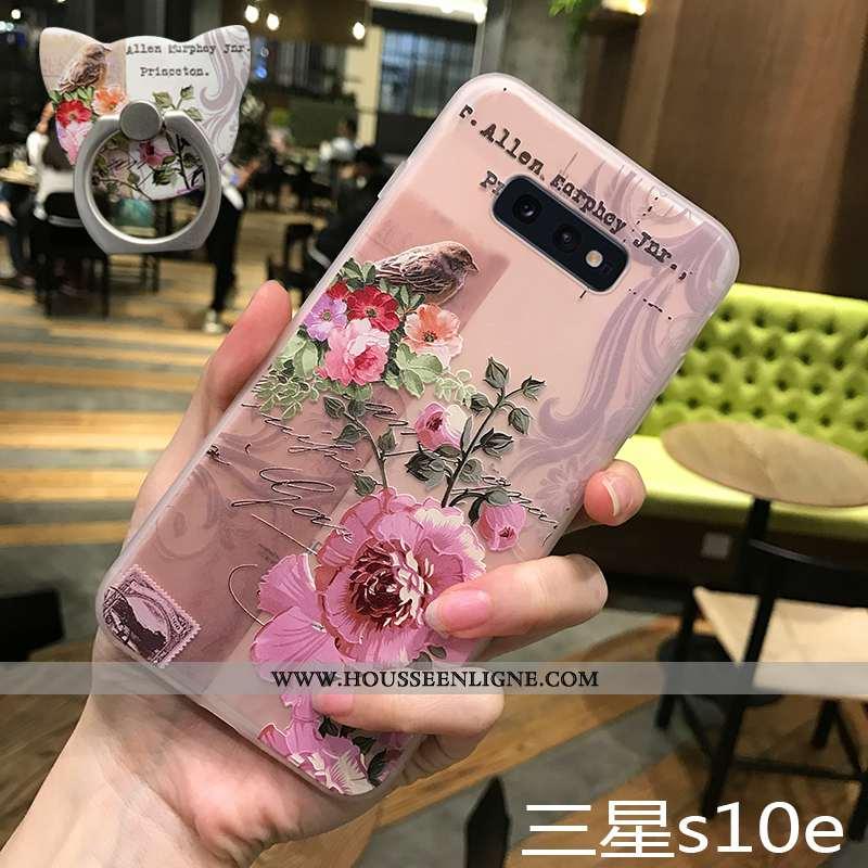 Étui Samsung Galaxy S10e Délavé En Daim Gaufrage Téléphone Portable Net Rouge Nouveau Style Chinois