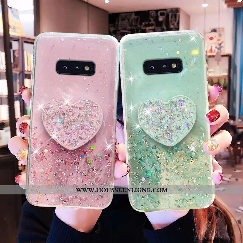 Étui Samsung Galaxy S10e Personnalité Fluide Doux Incassable Protection Quicksand Coque Étoile Rose