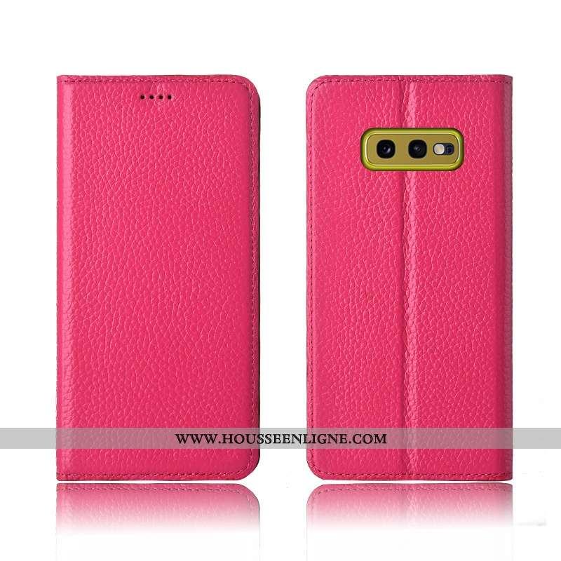 Étui Samsung Galaxy S10e Protection Cuir Véritable Étoile Fluide Doux Clamshell Incassable Rose