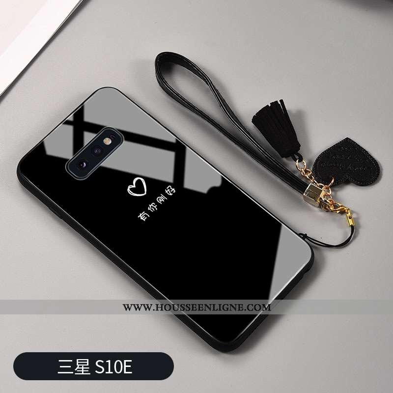 Étui Samsung Galaxy S10e Protection Verre Téléphone Portable Vent Net Rouge Frais Noir