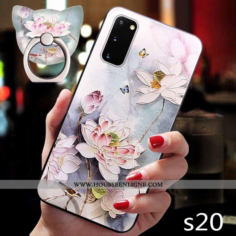 Étui Samsung Galaxy S20 Délavé En Daim Personnalité Silicone Ultra Style Chinois Coque Créatif Rose