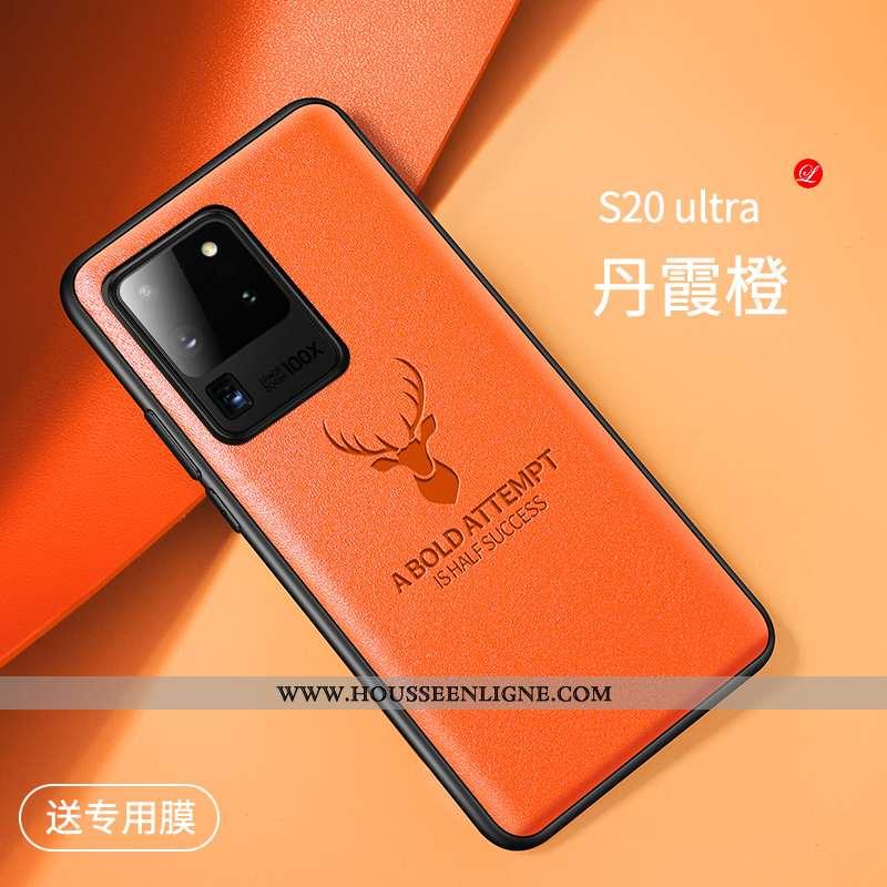 Étui Samsung Galaxy S20 Ultra Personnalité Créatif Protection Téléphone Portable Tout Compris Orange