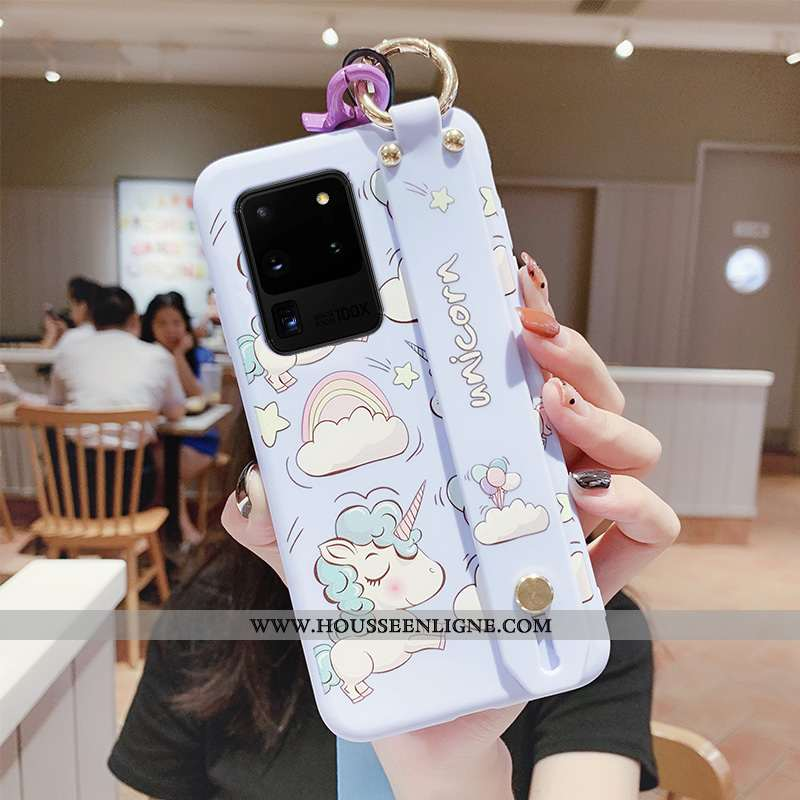 Étui Samsung Galaxy S20 Ultra Silicone Ornements Suspendus Coque Tendance Étoile Fluide Doux Cœur Bl