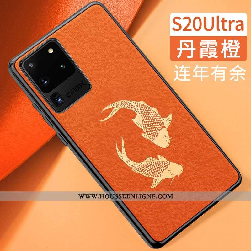 Étui Samsung Galaxy S20 Ultra Tendance Cuir Silicone Tout Compris Modèle Fleurie Style Chinois Orang