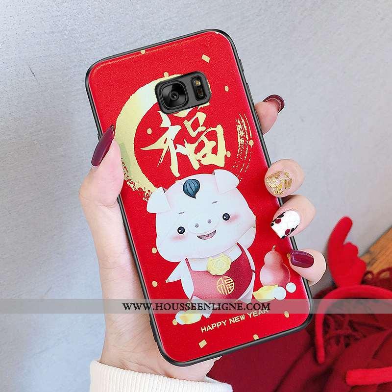 Étui Samsung Galaxy S6 Charmant Fluide Doux Téléphone Portable Silicone Étoile Coque Rouge