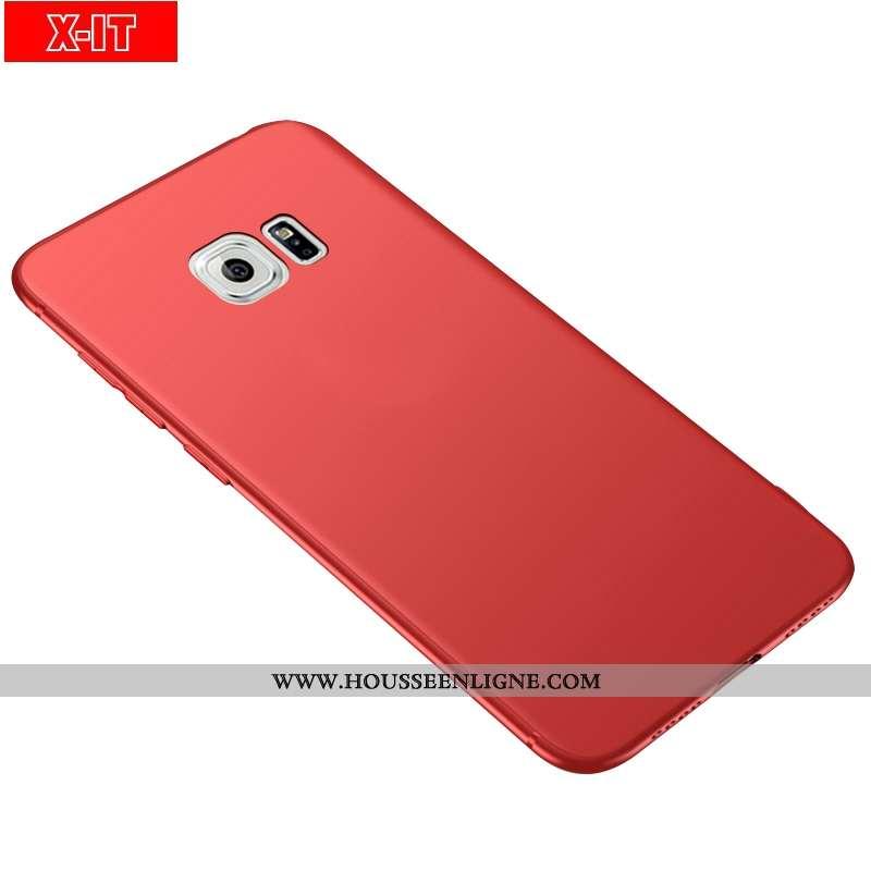 Étui Samsung Galaxy S6 Délavé En Daim Fluide Doux Protection Incassable Téléphone Portable Rouge Éto