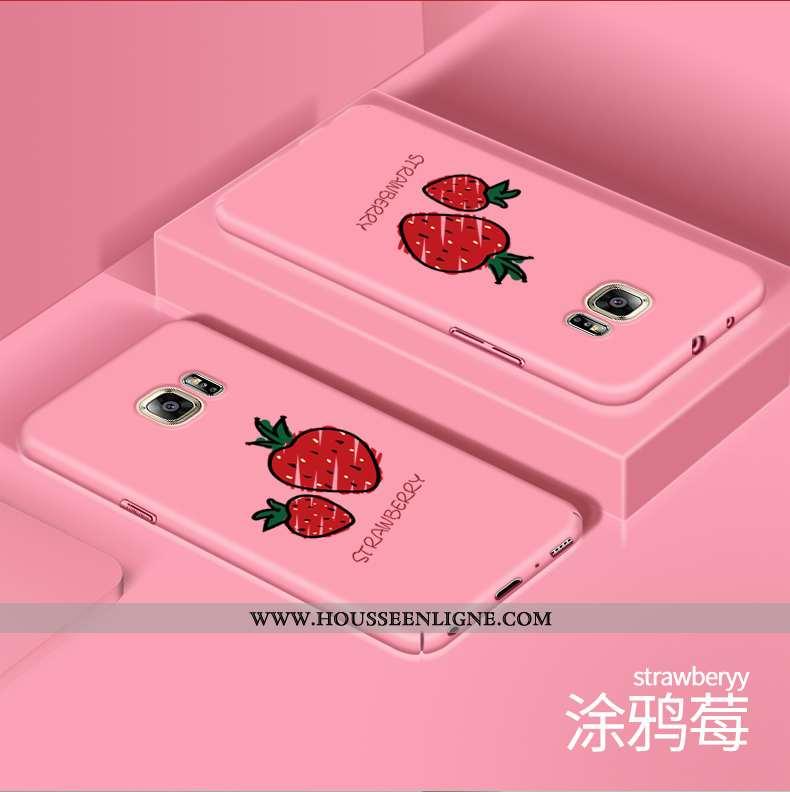 Étui Samsung Galaxy S6 Dessin Animé Charmant Rose Délavé En Daim Téléphone Portable Créatif