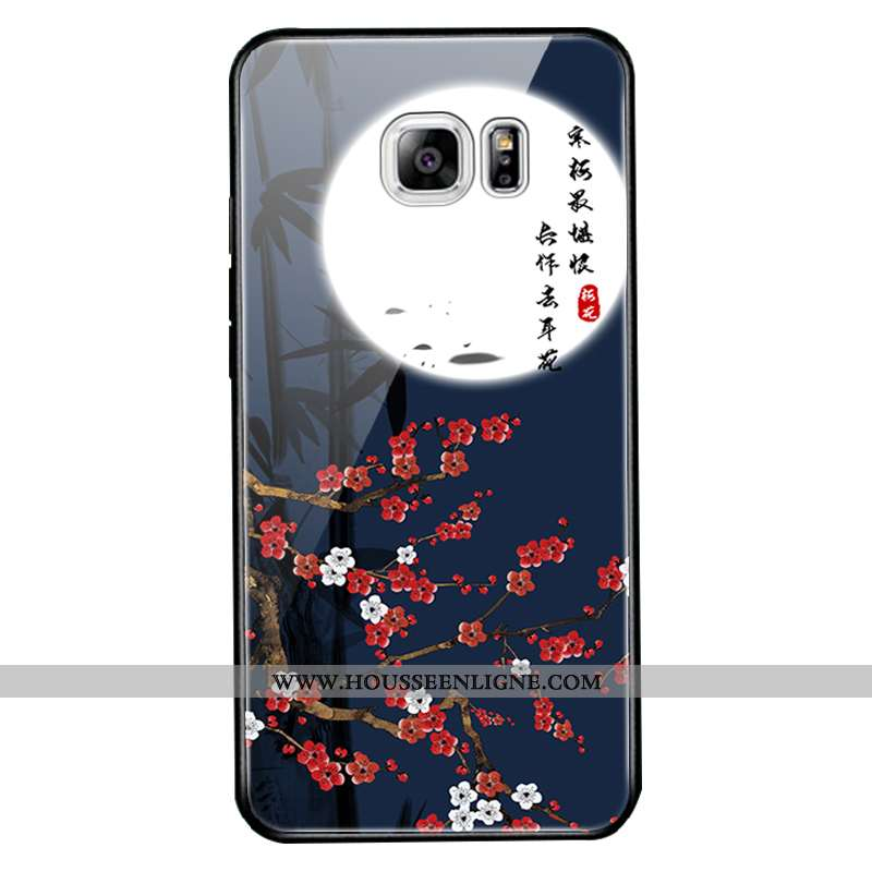 Étui Samsung Galaxy S6 Edge Protection Verre Bleu Marin Étoile Nouveau Miroir Bleu Foncé