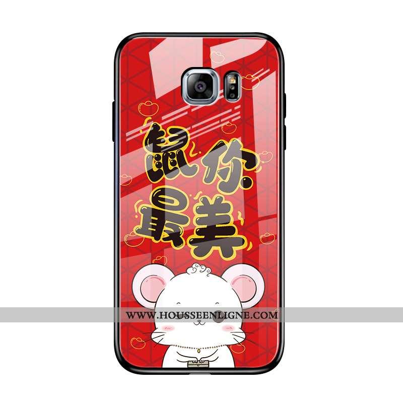 Étui Samsung Galaxy S6 Edge Verre Personnalité Nouveau Rat Amoureux Dessin Animé Tendance Rouge