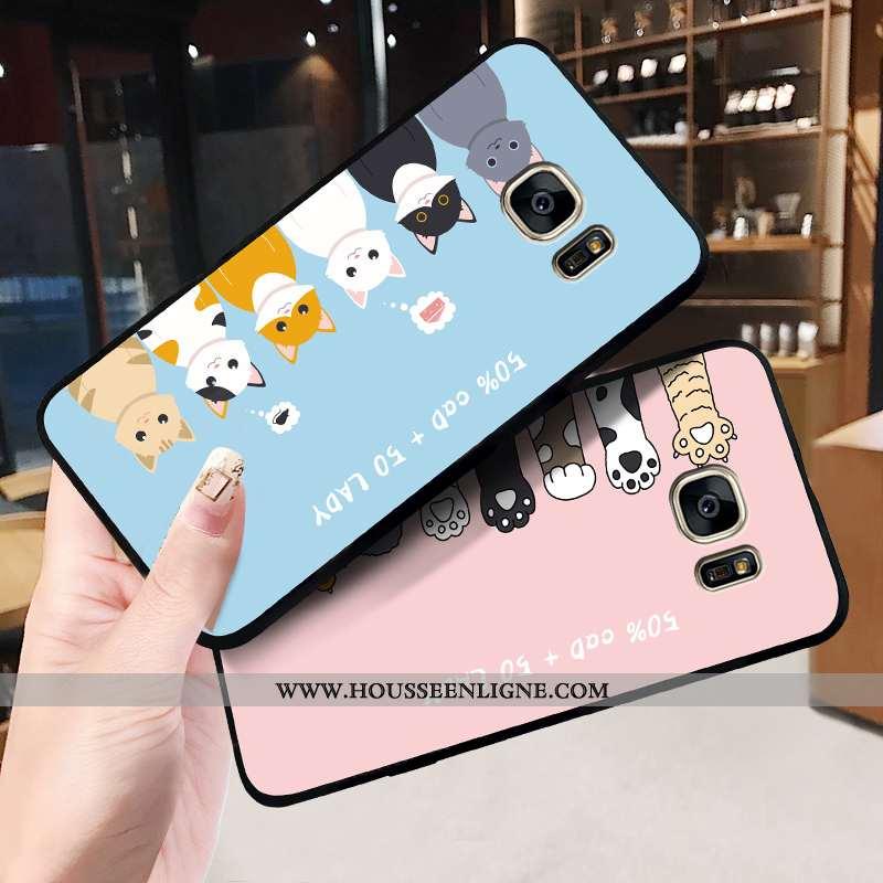 Étui Samsung Galaxy S6 Fluide Doux Silicone Tout Compris Délavé En Daim Dessin Animé Amoureux Créati
