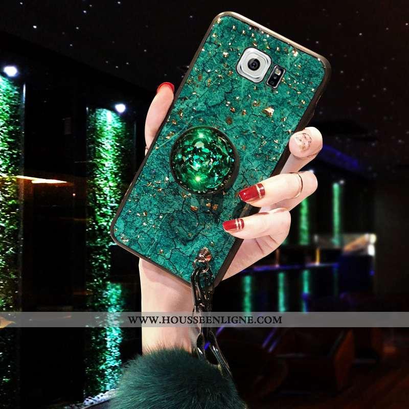 Étui Samsung Galaxy S6 Silicone Protection Luxe Téléphone Portable Étoile Tout Compris Support Verte