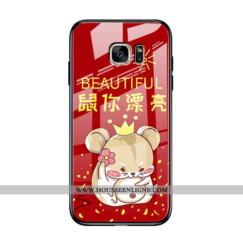 Étui Samsung Galaxy S7 Edge Légère Protection Téléphone Portable Créatif Style Chinois Verre Rouge