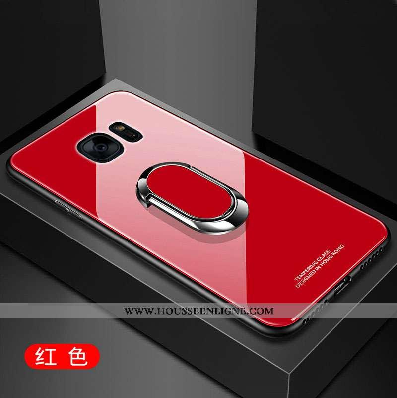 Étui Samsung Galaxy S7 Edge Silicone Protection Membrane Verre Coque Incassable Rouge