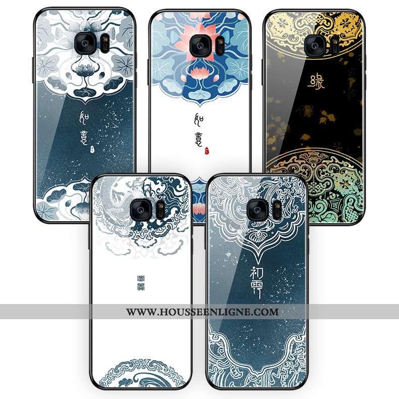Étui Samsung Galaxy S7 Edge Silicone Verre Coque Style Chinois Étoile Bleu