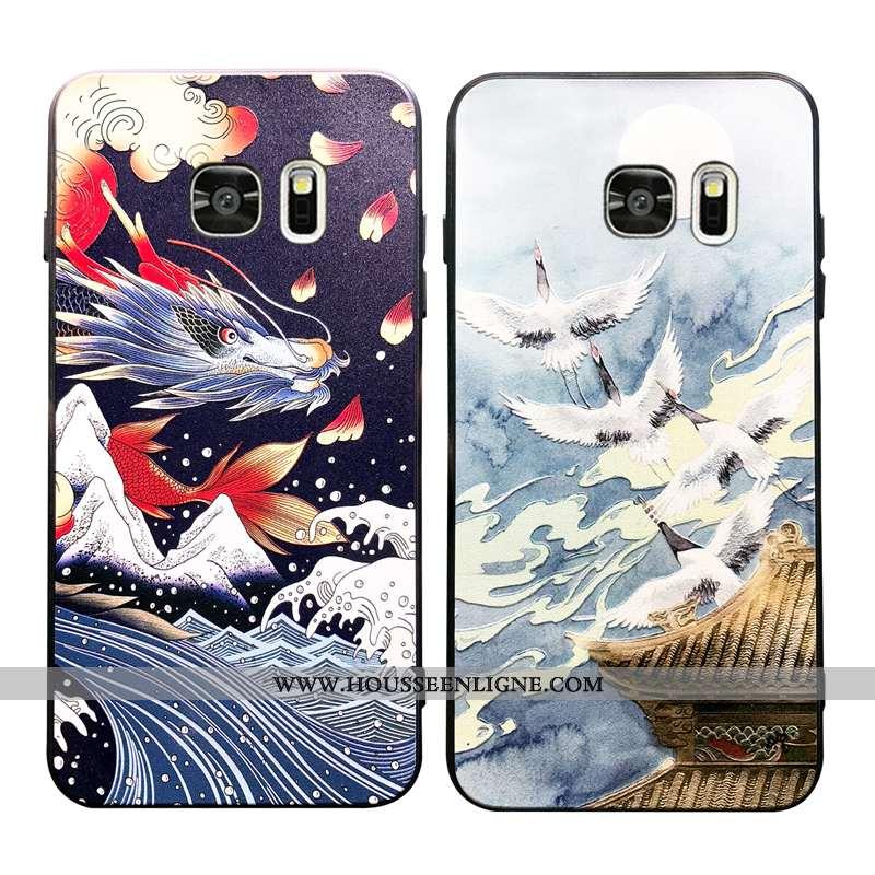 Étui Samsung Galaxy S7 Tendance Fluide Doux Bleu Téléphone Portable Protection Net Rouge Créatif