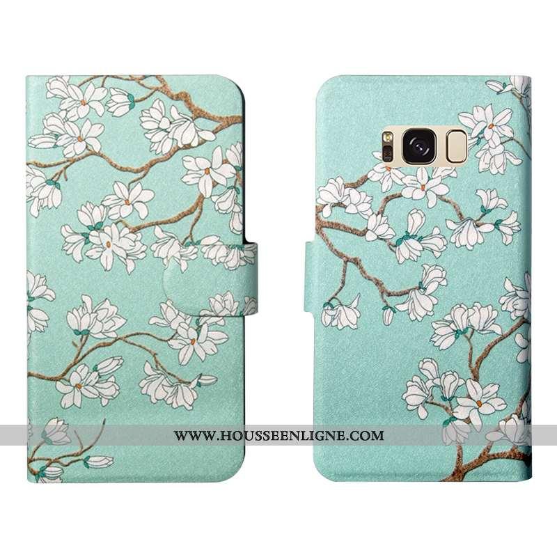 Étui Samsung Galaxy S8+ Cuir Fluide Doux Fleurs Simple Luxe Personnalité Verte