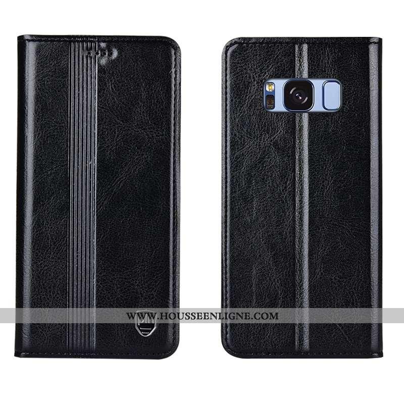 Étui Samsung Galaxy S8+ Cuir Véritable Cuir Coque Étoile Incassable Tout Compris Noir