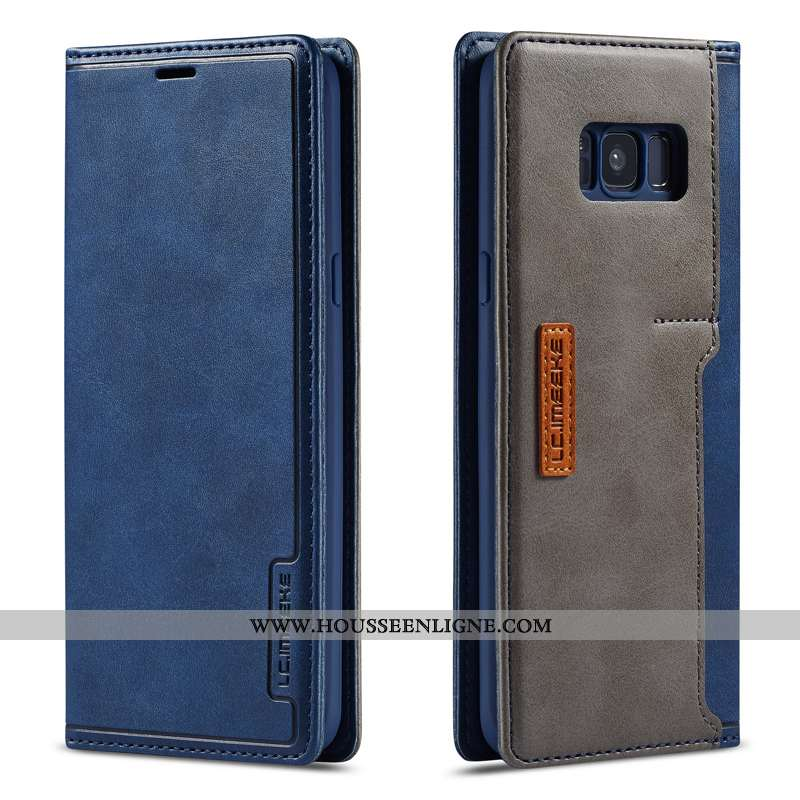 Étui Samsung Galaxy S8+ Cuir Véritable Housse Coque Membrane Bleu Marin Pu Tempérer Bleu Foncé