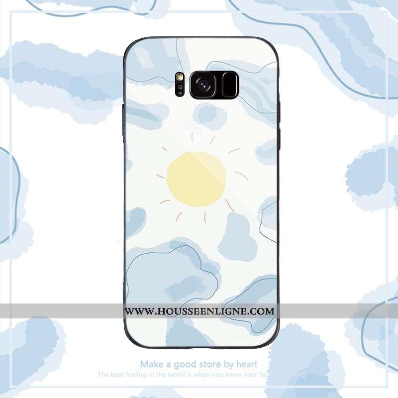 Étui Samsung Galaxy S8 Dessin Animé Tendance Coque Bleu Simple Silicone Net Rouge