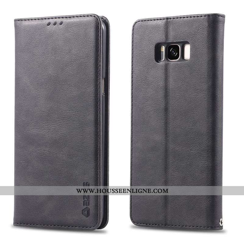 Étui Samsung Galaxy S8+ Fluide Doux Protection Tout Compris Noir Cuir Housse Portefeuille