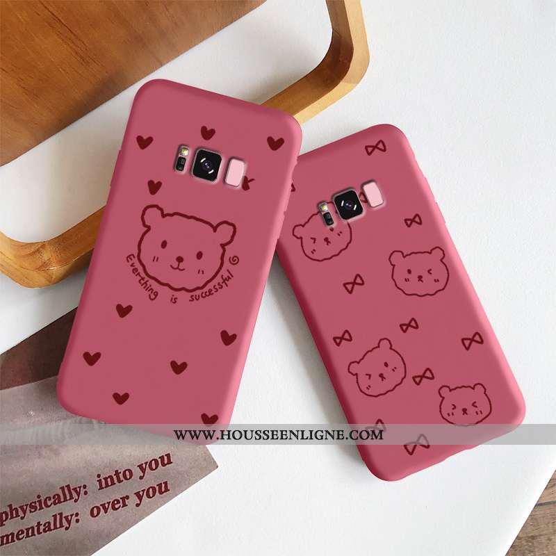 Étui Samsung Galaxy S8 Légère Fluide Doux Simple Protection Délavé En Daim Petit Vent Rouge
