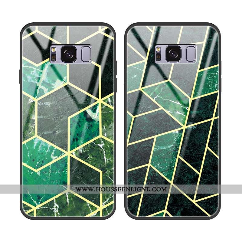 Étui Samsung Galaxy S8 Verre Personnalité Téléphone Portable Tendance Incassable Modèle Fleurie Vert