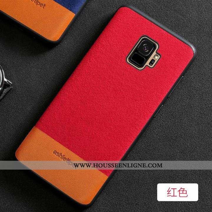 Étui Samsung Galaxy S9 Cuir Daim Fourrure Nouveau Incassable Antidérapant Téléphone Portable Rouge