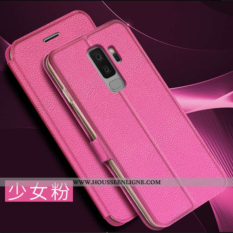 Étui Samsung Galaxy S9+ Cuir Protection Rouge Incassable Clamshell Coque Business Rose