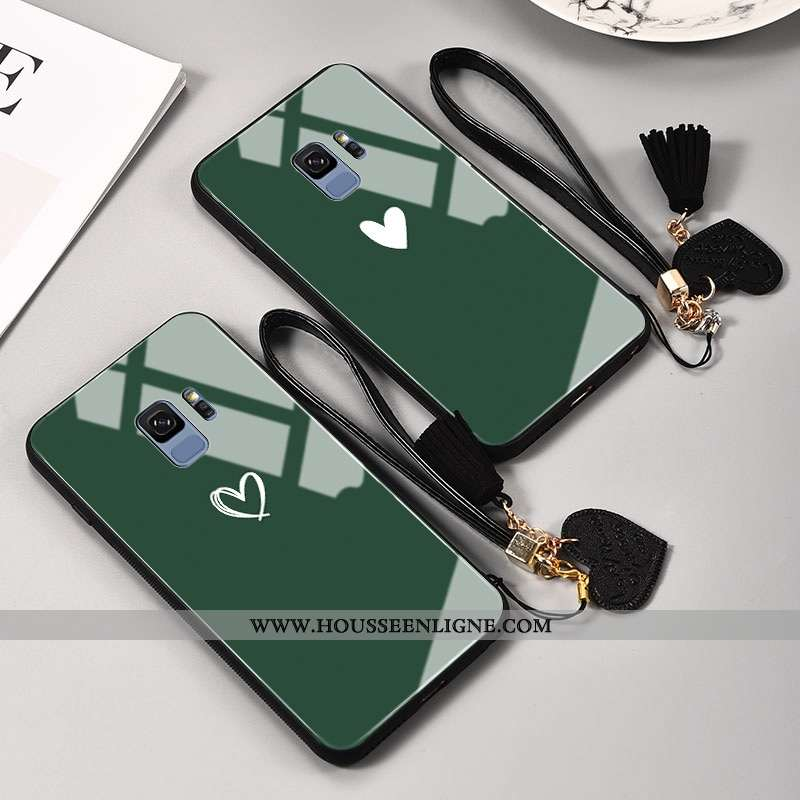 Étui Samsung Galaxy S9 Mode Protection Amour Peinte À La Main Personnalité Tout Compris Miroir Verte