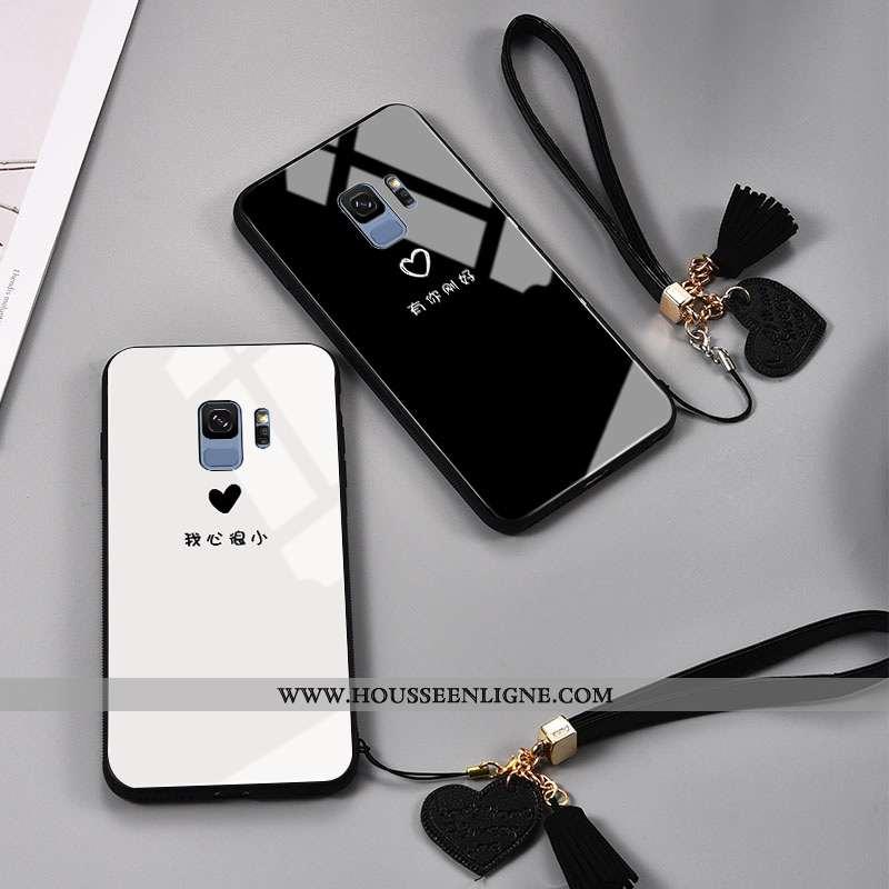Étui Samsung Galaxy S9 Mode Protection Verre Petit Noir Frais Amoureux