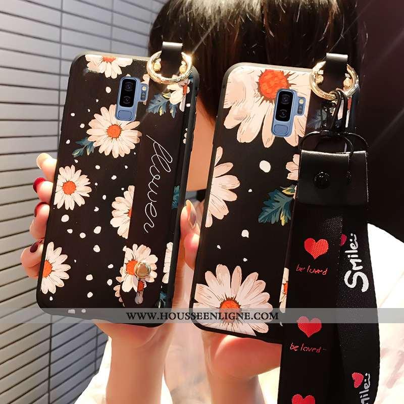 Étui Samsung Galaxy S9+ Personnalité Créatif Coque Cou Suspendu Protection Téléphone Portable Noir