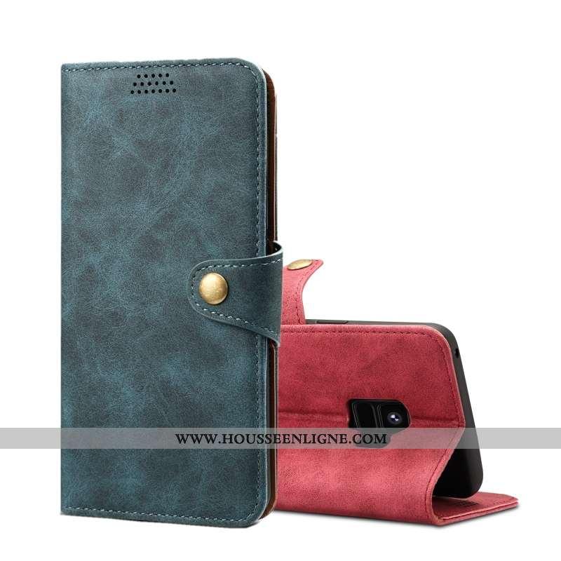 Étui Samsung Galaxy S9 Protection Cuir Étoile Housse Coque Téléphone Portable Bleu