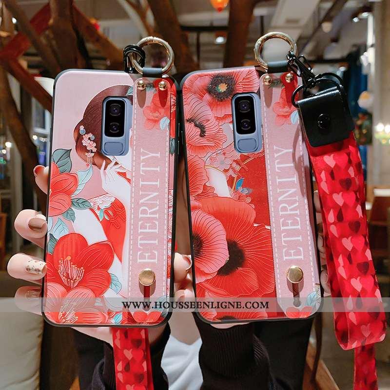 Étui Samsung Galaxy S9+ Protection Gaufrage Palais Téléphone Portable Tout Compris Rouge Pu