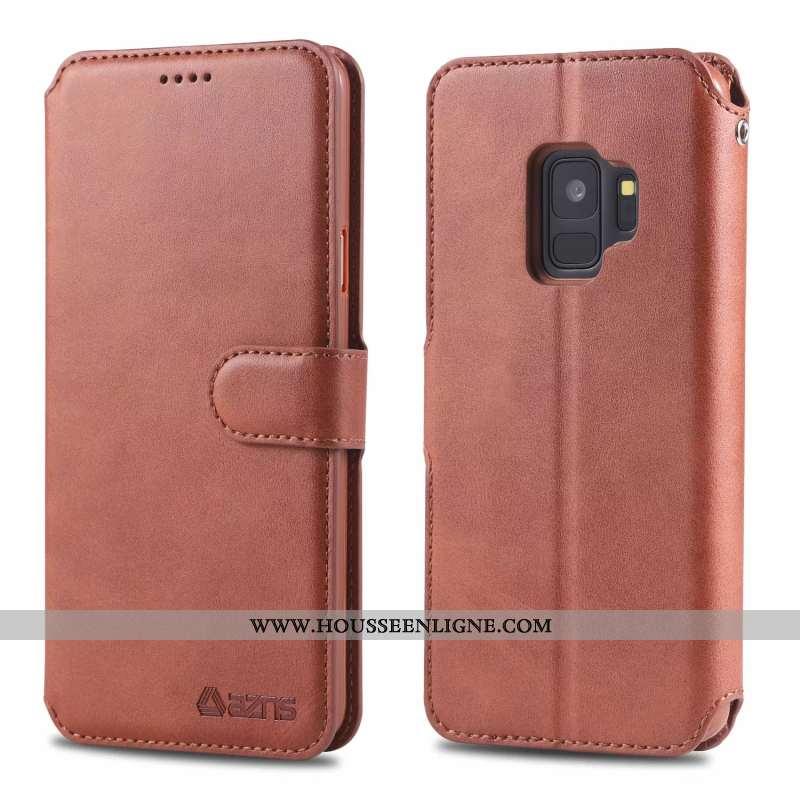 Étui Samsung Galaxy S9 Protection Ornements Suspendus Membrane Cuir Silicone Étoile Marron