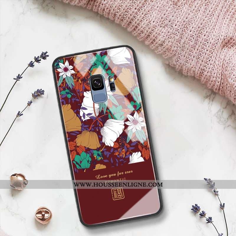 Étui Samsung Galaxy S9 Protection Verre Art Téléphone Portable Tout Compris Étoile Net Rouge Bordeau