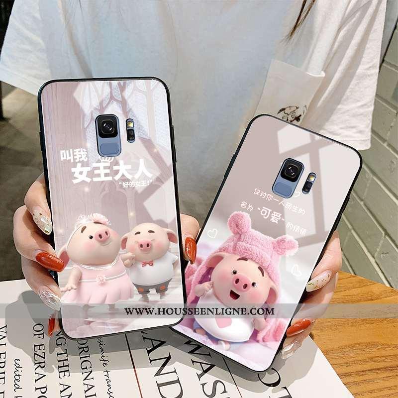 Étui Samsung Galaxy S9 Protection Verre Tendance Créatif Net Rouge Charmant Petit Rose