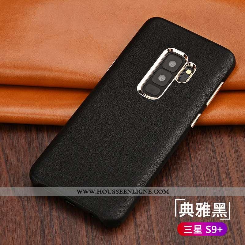 Étui Samsung Galaxy S9+ Tendance Légère Business Coque Protection Ultra Cuir Noir