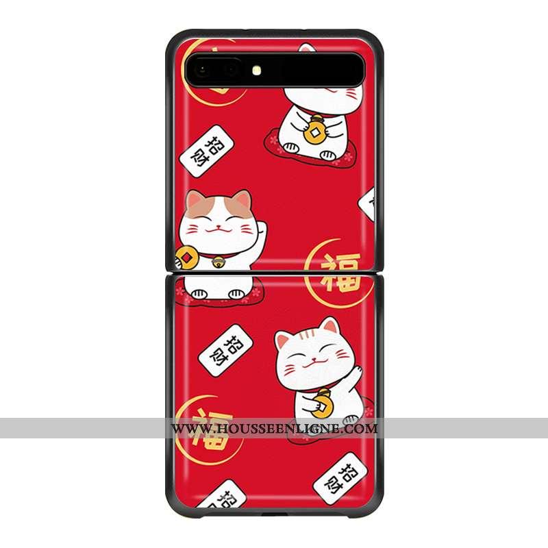 Étui Samsung Z Flip Protection Ornements Suspendus Personnalisé Téléphone Portable Cuir Coque Rouge