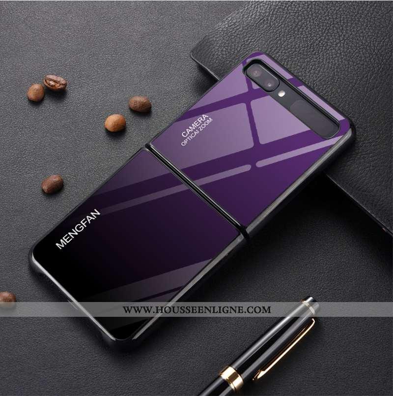 Étui Samsung Z Flip Protection Verre Coque Personnalisé Modèle Simple Téléphone Portable Violet
