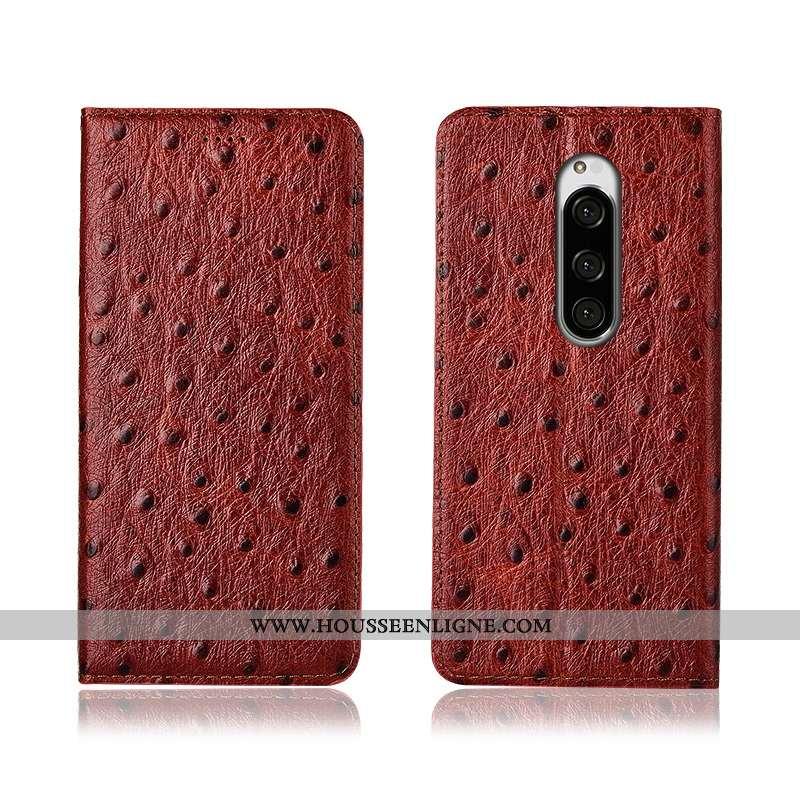 Étui Sony Xperia 1 Délavé En Daim Cuir Véritable Clamshell Protection Silicone Cuir Marron