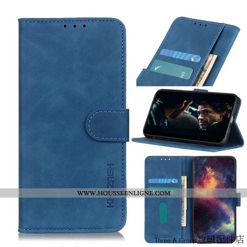 Étui Sony Xperia 1 Ii Délavé En Daim Vintage Téléphone Portable Housse Cuir Bleu