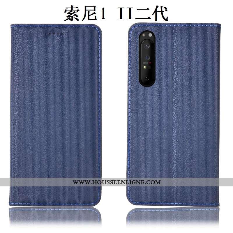 Étui Sony Xperia 1 Ii Protection Cuir Véritable Incassable Housse Bleu Dégradé Coque